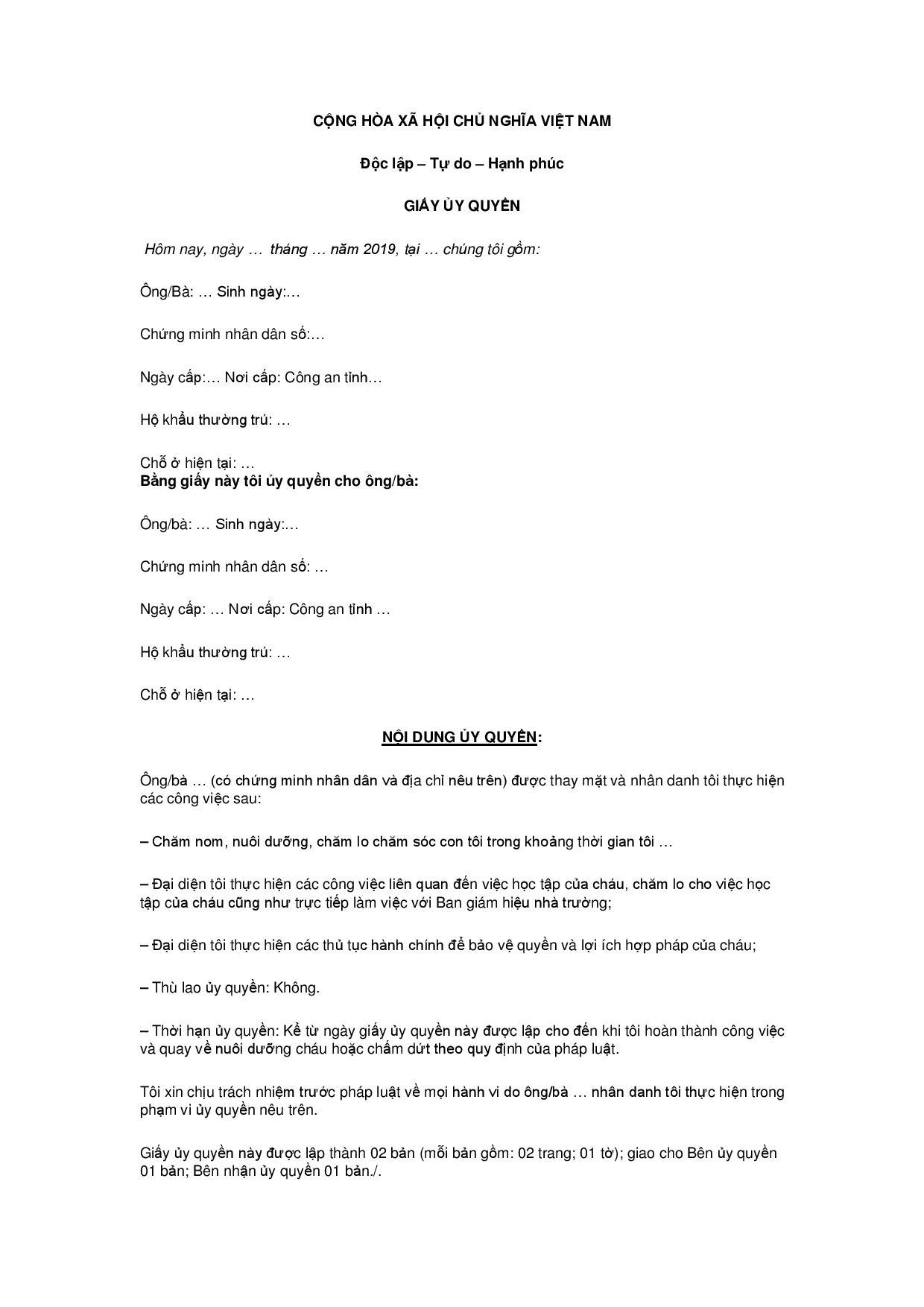 Mẫu giấy ủy quyền nuôi con sau ly hôn